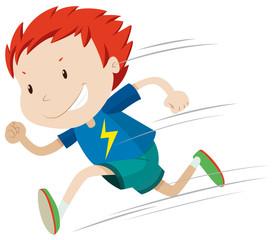 Boy running very fast