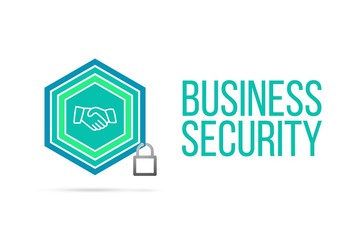 Business Security concept image with pentagon shield and lock illustration and handshake icon inside