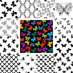Set seamless patterns with butterflies