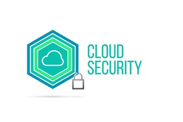 Cloud security concept image with pentagon shield and lock illustration and icon inside