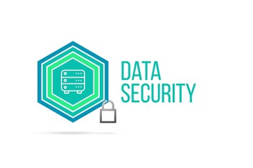 Data security concept image with pentagon shield and lock illustration and icon inside