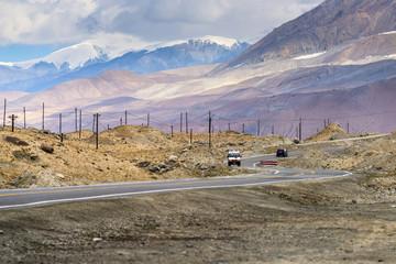 Landscape of Mountain and Lake around Muztagh Ata and Karakuli Lake, Pamir Mountains, Kasgar, Xinjiang, China