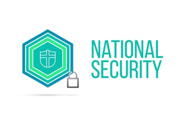 National Security concept image with pentagon shield seal and lock illustration and icon inside