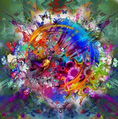 Абстрактное изображение с птицей и цветками. Иллюстрация