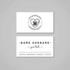 Handmade workshop business card design concept. Handmade workshop logo with heart and thread spool. Vintage, hipster and retro style. Black and white.