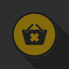 dark gray and yellow icon - shopping basket cancel