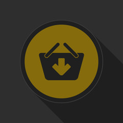 dark gray and yellow icon - shopping basket add