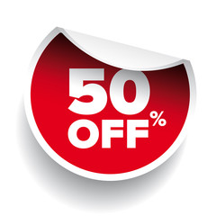red vector 50% discount price sign