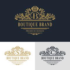 Monogram design elements, graceful template. Calligraphic elegant line art logo design. Letter emblem sign B, S, C for Royalty, business card, Boutique, Hotel, Heraldic, Jewelry. Vector illustration
