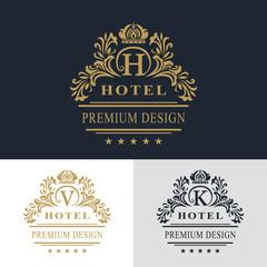 Monogram design elements, graceful template. Calligraphic elegant line art logo design. Letter emblem sign V, K, H for Royalty, business card, Boutique, Hotel, Heraldic, Jewelry. Vector illustration