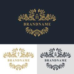 Monogram design elements, graceful template. Calligraphic elegant line art logo design. Letter emblem sign B, T, R for Royalty, business card, Boutique, Hotel, Heraldic, Jewelry. Vector illustration