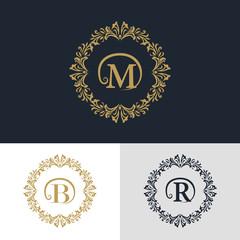 Monogram design elements, graceful template. Calligraphic elegant line art logo design. Letter emblem sign B, M, R for Royalty, business card, Boutique, Hotel, Heraldic, Jewelry. Vector illustration