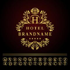 Monogram design elements, graceful template. Elegant line art logo design. Business gold emblem letter H for Restaurant, Royalty, Boutique, Cafe, Hotel, Heraldic, Jewelry, Fashion. Vector illustration