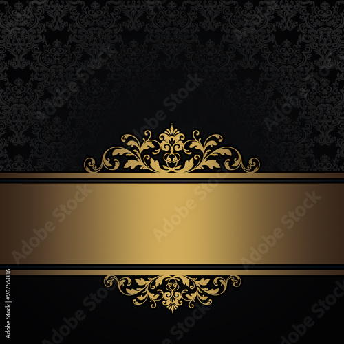 Wall mural Black vintage background with gold border.