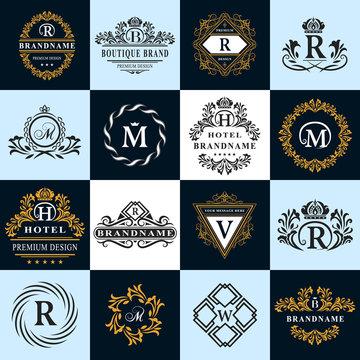 Monogram design elements, graceful template. Calligraphic elegant line art logo design. Letter emblem sign R, B, M, H, V, W for Royalty, business card, Boutique, Hotel, Heraldic. Vector illustration