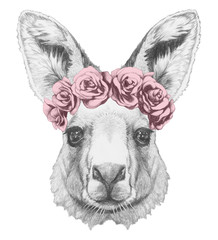 Portrait of Kangaroo with floral head wreath. Hand drawn illustration.