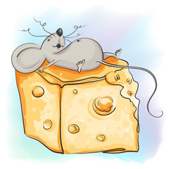 Funny cartoon mouse lies with the cheese