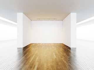 Empty space for exhibit, lamp on the wall background, wooden floor. 3d render