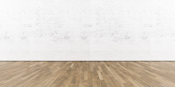 Blank part of white painted brick wall with wooden floor. 3d render