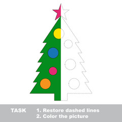 New year tree to be colored. Vector trace game.