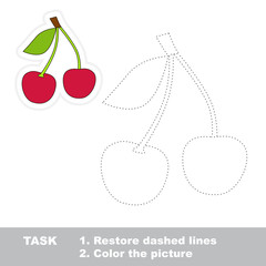 Sweet cherry to be traced. Vector trace game.