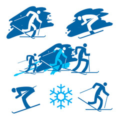 Skiers icons. 