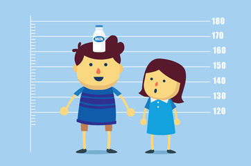 Boy place a milk bottle on head for make increase tallness than girls. This illustration meaning to drinking milk make a kid high up faster.