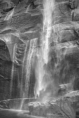 Black and white photo of a waterfall, Yosemite National Park, US