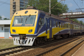 the train on railway tracks