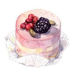 Hand painted dessert - cake with berries