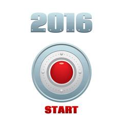 Start button, metallic/red illustration, vector temlate