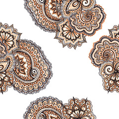 Decorative ornamental floral ornament with paisley. Repeating ornate pattern.