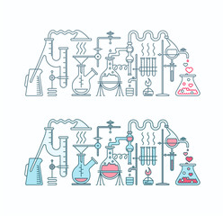Production of love elixir in laboratory illustration.