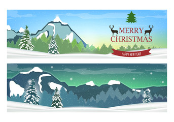 Two Banners with Holiday Winter Landscape . Vector.