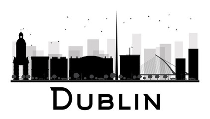 Dublin City skyline black and white silhouette. Some elements have transparency mode different from normal