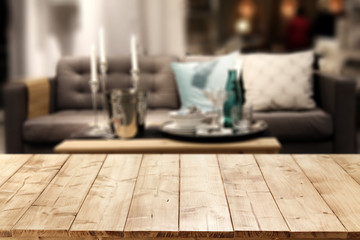 wooden table and sofa