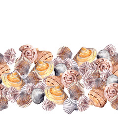 Seamless border line with sea shells. Watercolor frame