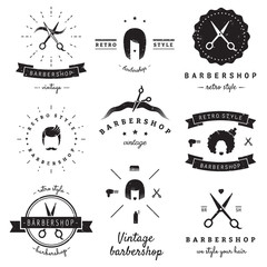Barbershop (hair salon) logo vintage vector set. Hipster and retro style. Perfect for your business design.