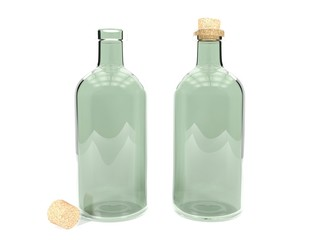 Clear glass bottles isolated on white background