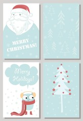 We wish you a Merry Christmas and a happy New Year. Stylish holiday card with cute sheep in vector. Bright cartoon background with holiday symbols