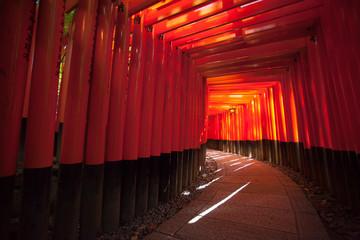 Fushimi Inari Taisha, Tunnel of Japanese name on the famous red pole or torii in Fushimi Inari taisha Kyoto, Japan