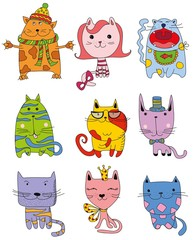 Vector Collection of Cute Cartoon Doodle Cats