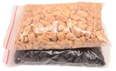 raisins and peanuts