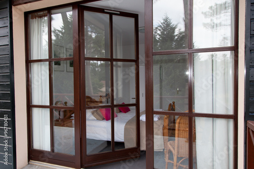 quotBright bedroom with brown bay window in