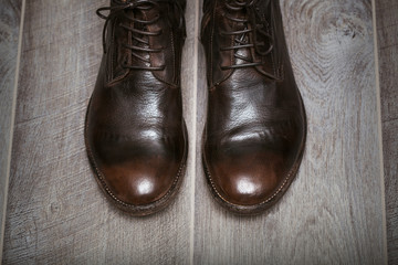 costly beautiful leather men's shoes in vintage style