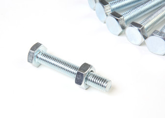 bolts with nuts isolated