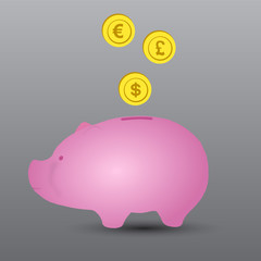 vector background illustration pig and money