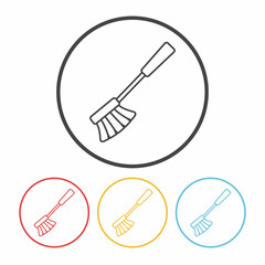 cleaning brush line icon