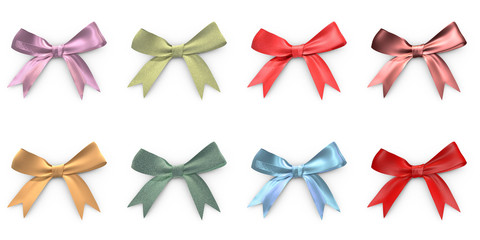 Eight Christmas ribbons with different materials