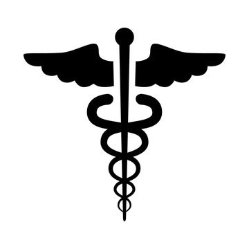 Caduceus of Hermes healthcare flat icon for medical apps and websites